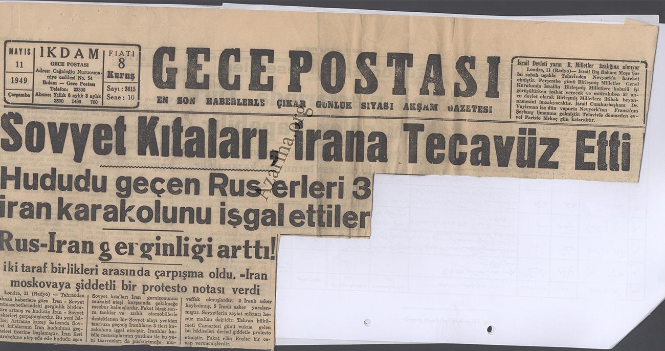 گزارش روزنامه های ترکیه هنگام اشغال ایران پس از سوم شهریور 1320